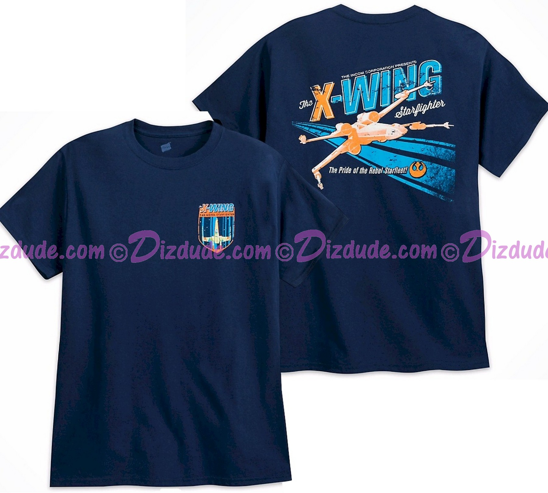 Disney Star Wars Rebel X-Wing Adult T-Shirt (Tshirt, T shirt or Tee) Printed Front & Back © Dizdude.com