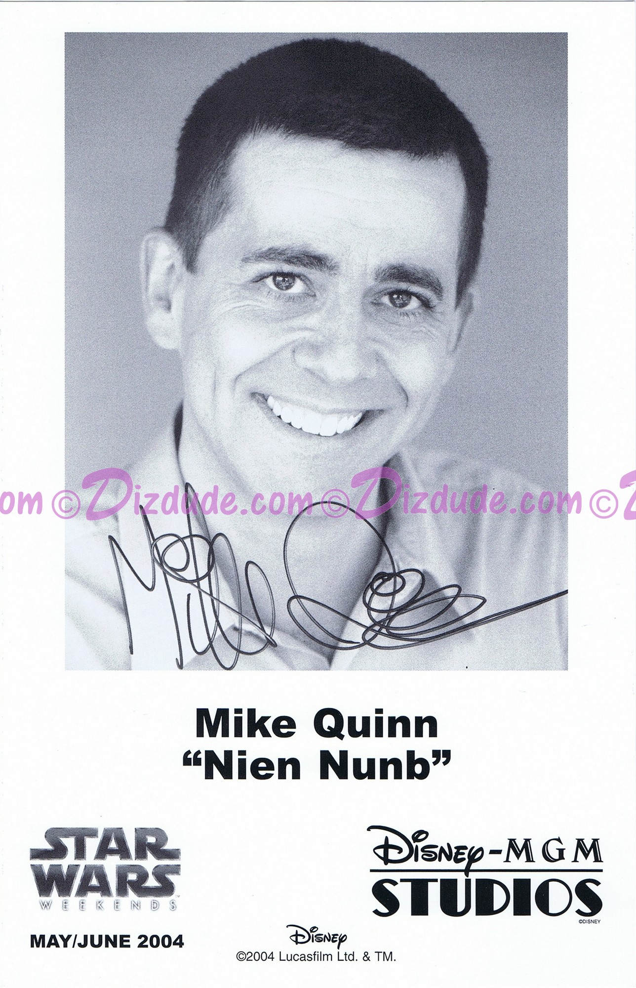 Mike Quinn who performed Nien Nunb Presigned Official Star Wars Weekends 2004 Celebrity Collector Photo © Dizdude.com