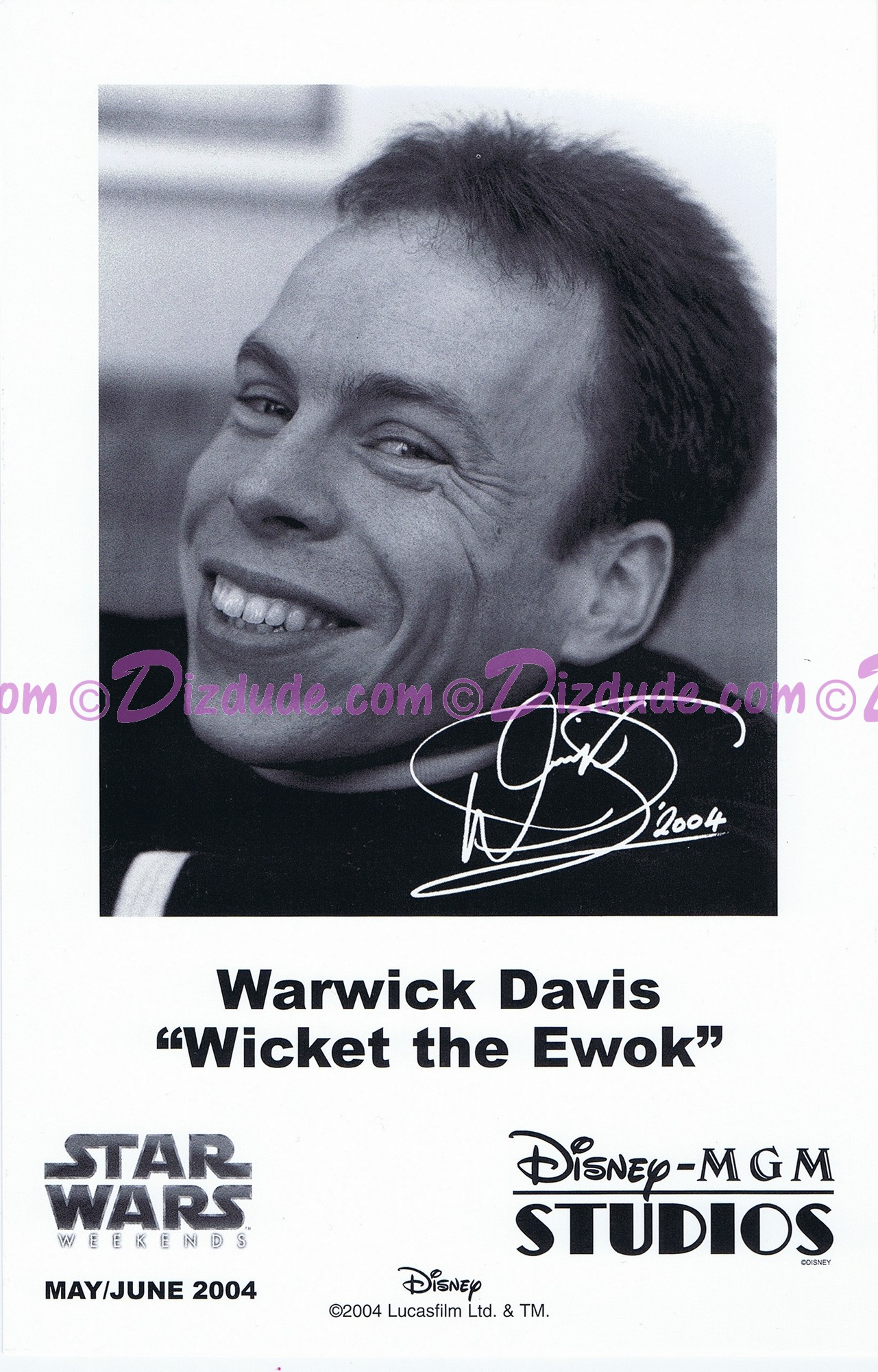 Warwick Davis who played The Ewok Wicket W. Warrick Presigned Official Star Wars Weekends 2004 Celebrity Collector Photo © Dizdude.com