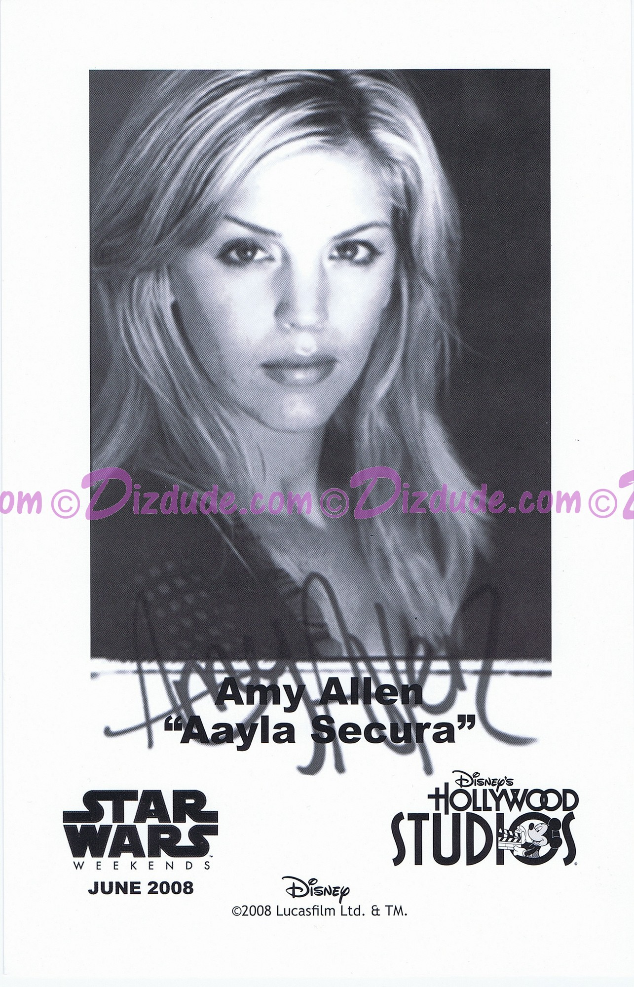 Amy Allen who played Aayla Secura Presigned Official Star Wars Weekends 2008 Celebrity Collector Photo © Dizdude.com