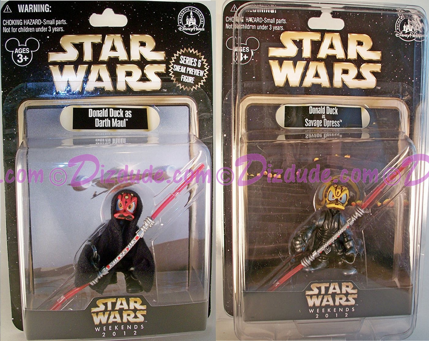 "Donald Duck as Savage Opress LE 2012 & Donald Duck as Darth Maul ""Sneak Preview"" Series 6 figure"" event packaging LE  600 © Dizdude.com"
