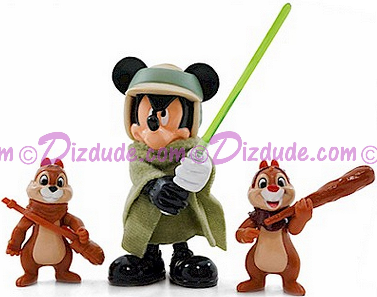 Mickey Mouse as Luke Skywalker with Chip and Dale as Ewoks ion Figure Set