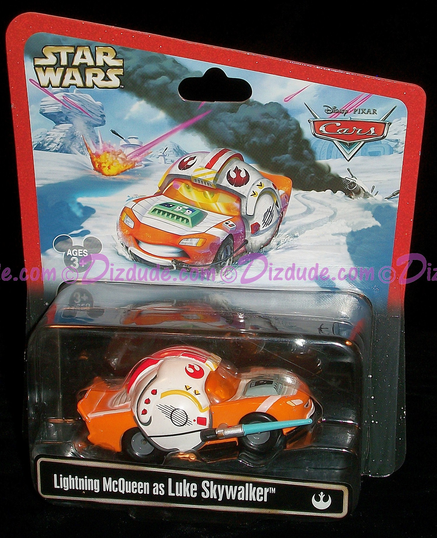 "Disney~ Pixar ""Cars"" Lightning McQueen as Star Wars Luke Skywalker X-Wing Fighter Pilot ~ Racer © Dizdude.com"
