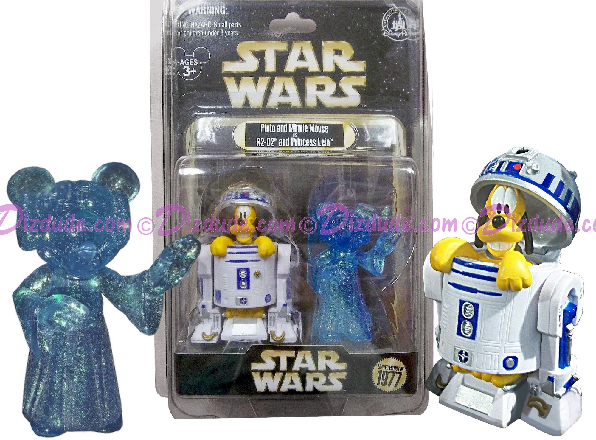 Disney Star Wars Pluto as R2-D2 & Minnie Mouse as Princess Leia Action Figure Individually Numbered Limited Edition 1977 ~ Official Star Wars Weekends 2015