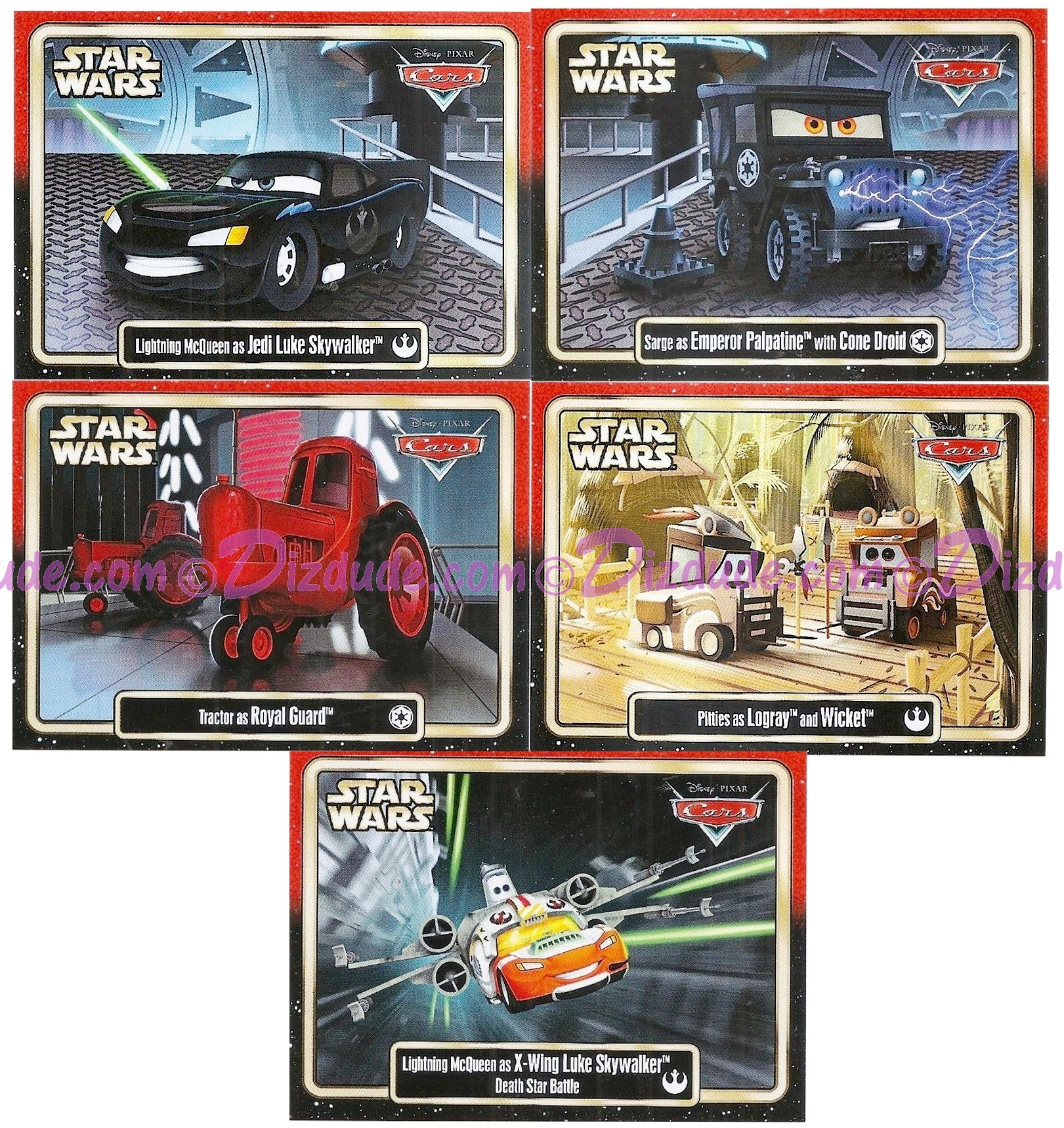 """Complete Set of  Disney Pixar """"Cars"""" as LucasFilms """"Star Wars"""" Characters 5 Trading Cards Series 3 for Star Wars Weekends 2015 © Dizdude.com"""