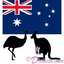 Australian Flag with Emu and Kangaroo Silhouette T-Shirt or Tank Top (Tshirt, T shirt or Tee)