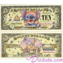 "2005 ""D"" $10 UNC Disney Dollar - Stitch front with Disneyland Sleeping Beauty's Castle and barcode on back - ""D"" 50th Anniversary Series from Disney World"