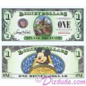 "2014 ""D"" $1 MINT UNC 5 Digit Disney Dollars - Splash Mountain Attraction front with Mickey Mouse on the ride on back - ""D"" Mountain Rides the Final Disney Dollars series from Disney World"