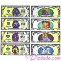 2013 Villains and Heroes Disney Dollars **ERROR** Set ~ one each of all 4 Maleficent Cruella (101 Dalmatians) with SPELLING ERROR, (Sleeping Beauty and Prince), Ursula (Little Mermaid and Eric),  & Cpt. Hook (Peter Pan)