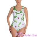 Small White Periwinkle All Over Print Ladies Swimsuit