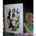 3 Actors Autographed Star Wars Weekends 2009 Event Prop Poster Framed with Autographs: Tom Kane (Yoda), James Arnold Taylor (Obi-Wan Kenobi), & Dee Bradley Baker (Captain Rex)