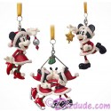Disney Turn of the Century Set of 3 Mickey and Minnie Christmas Ornaments