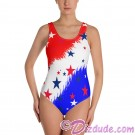 Stars and Stripes All Over Print Ladies Swimsuit © Hippieworks