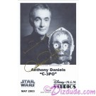 Anthony Daniels who played C-3PO Autographed In Gold Pen Official Star Wars Weekends 2003 Celebrity Collector Photo © Dizdude.com