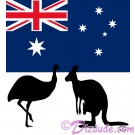 Australian Flag with Emu and Kangaroo Silhouette T-Shirt or Tank Top (Tshirt, T shirt or Tee) © Hippieworks
