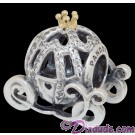 Disney Pandora Cinderella's Pumpkin Coach 14 Karat Gold and Sterling Silver Charm set with 80 Cubic Zirconias