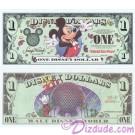"2000 ""A"" $1 Disney Dollar - Millennium Mickey - Disney World back - ""A"" Series from DIsneyland ~ © DIZDUDE.com"