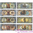 "Full set of all 4 Pirates of the Caribbean 2007 & 2011 ""F"" series Disney Dollars ~ © DIZDUDE.com"