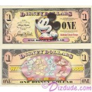 "2008 ""D"" $1 MINT UNC Disney Dollar - Boyer's Pie-Eyed Mickey Front Boyer's Mickey through the years back - ""D"" Mickey Mouse's 80th Anniversary Series from Disney World ~ © DIZDUDE.com"