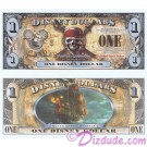 "2011 ""F"" $1 MINT UNC 5 Digit Disney Dollars - ""Pirates of the Caribbean: On Stranger Tides"" front with Queen Anne's Revenge Ship on back (4th Film Released)  - ""F"" Pirates of the Caribbean Series from Disney World ~ © DIZDUDE.com"