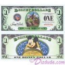 """2014 """"D"""" $1 MINT UNC 5 Digit Disney Dollars - Splash Mountain Attraction front with Mickey Mouse on the ride on back - """"D"""" Mountain Rides the Final Disney Dollars series from Disney World ~ © DIZDOLLARS.com"""