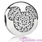 Disney Pandora Mickey Pavé Clip Sterling Silver Charm with Cubic Zirconias