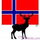 Norwegian Flag with Reindeer - Caribou T-Shirt or Tank Top on White (Tshirt, T shirt or Tee) © Hippieworks