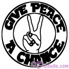 Give Peace A Chance Black and White T-Shirt or Tank Top (Tshirt, T shirt or Tee) © Hippieworks