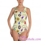 Peace Love & Happiness All Over Print Ladies Swimsuit Top © Hippieworks