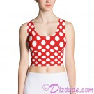 Red and White Polka Dots All Over Print Ladies Crop Top © Hippieworks