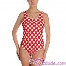 Red and White Polka Dots All Over Print Ladies Swimsuit © Hippieworks
