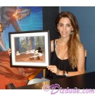 "Amy Allen holding the ""Defend-Ears of the Kingdom"" Cel after autographing © Dizdude.com"
