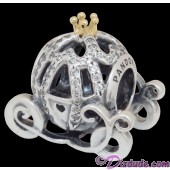 Disney Pandora Cinderella's Pumpkin Coach 14 Karat Gold and Sterling Silver Charm set with 80 Cubic Zirconias